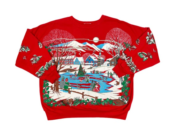 Vintage Ugly Christmas Tuxedo Shirt Hand Painted Ugly Xmas Shirt 1990/'s 90/'s Holiday Christmas Sweater Jumper