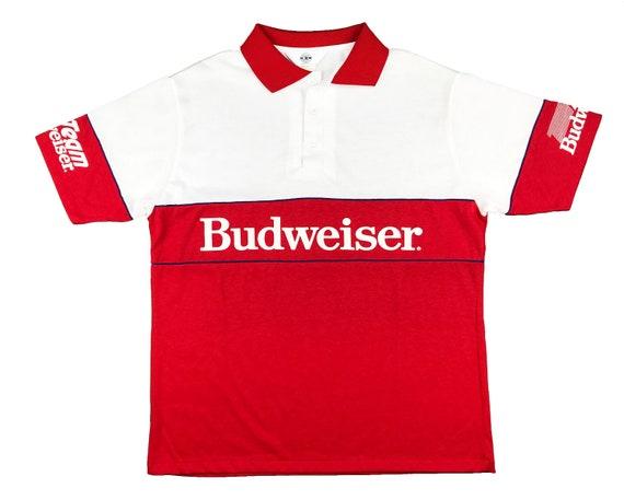Vintage Budweiser Racing Polo Shirt 80s Beer NASCA