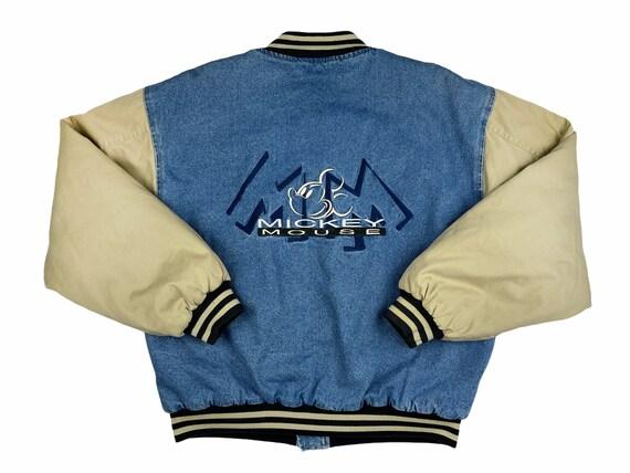 Vintage Mickey Mouse Varsity Denim Jacket 90s Disn