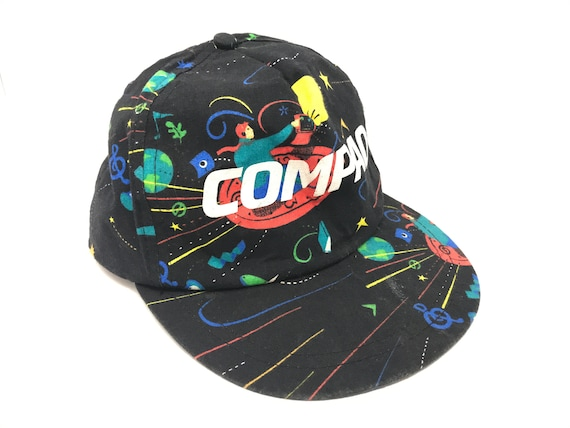 09efc3195dca6 Vintage Compaq Hat All Over Print 90s Snapback Internet