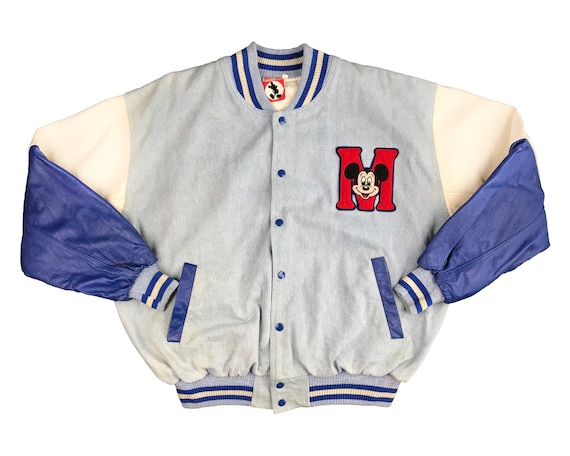 Vintage Mickey Mouse Varsity Leather Jacket 90s De