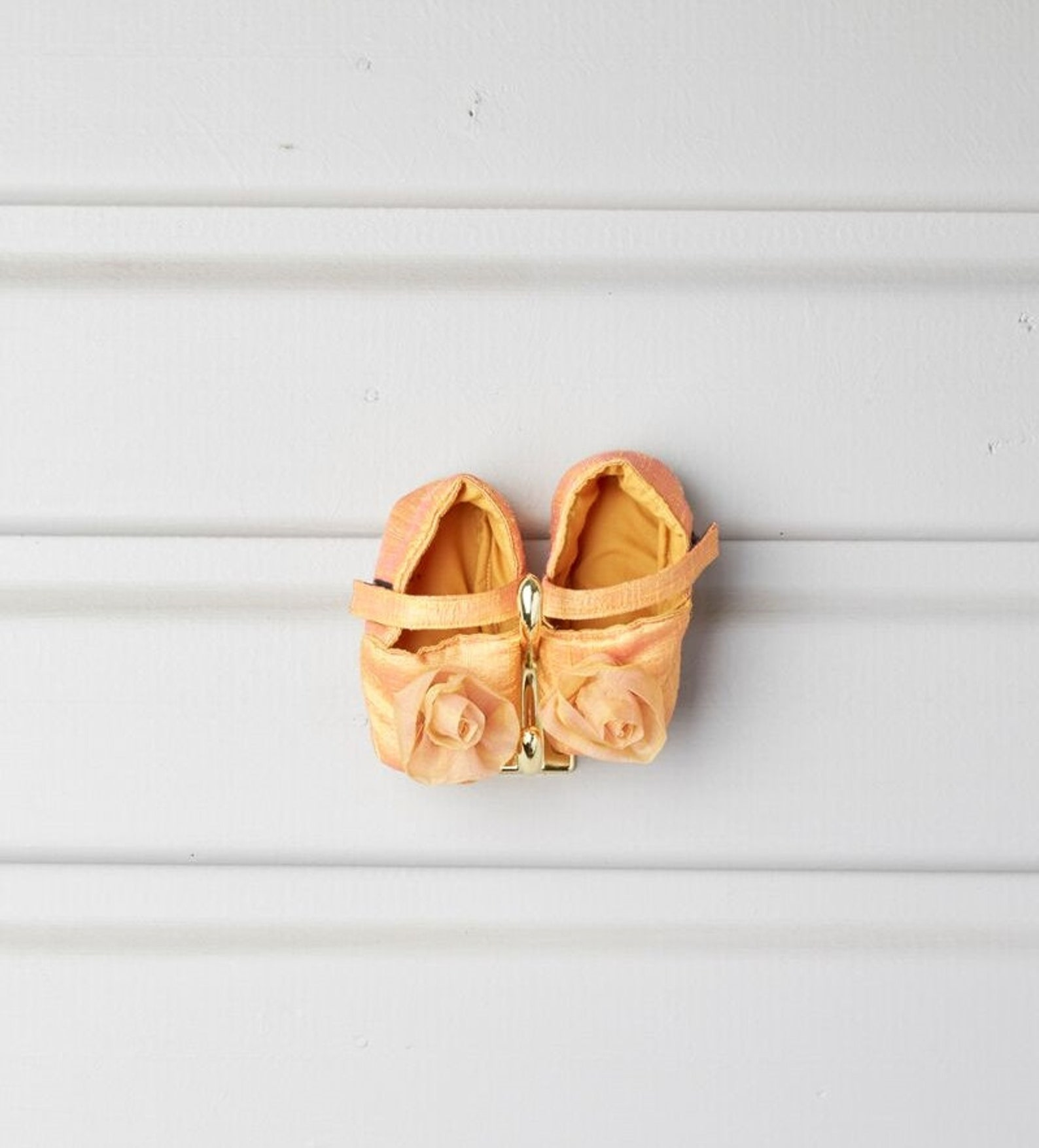 baby girl silk shoes / orange newborn booties with organza silk rosette / baby crib shoes / ballet slipper / wedding / baptism /