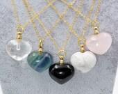 New Handmade Crystal Heart Perfume Bottle Pendant Necklace,Natural quartz obsidian fluorite howlite Essential Oils Air Freshener X234