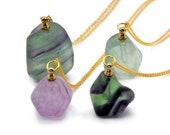 New 30mm-50mm Natural gemstone Perfume Bottle Pendant Essential Oil Diffuser Necklace fluorite stone fashion pendant X236