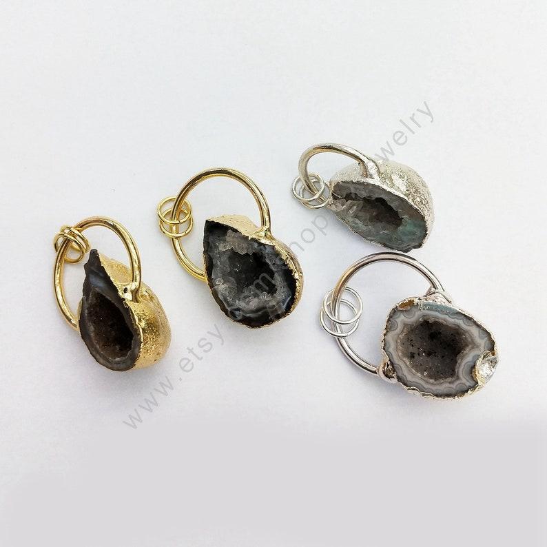 Freefrom Geode Leopard Agates Druzy Pendant  Natural Geode Drusy Quartz Agates Gem Stone circle Pendants Jewelry Making L398
