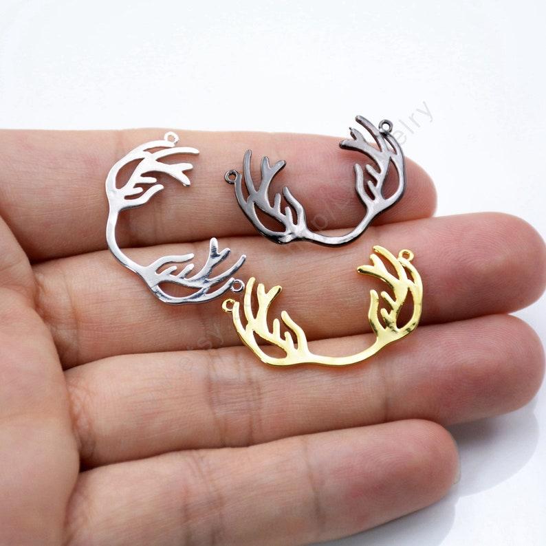 Antler Jewelry L840 Antler Connector Laser Cut Jewelry Boho Jewelry Raw Brass Pendant Deer Antler Pendant 10 Pcs Antler Horns Pendant
