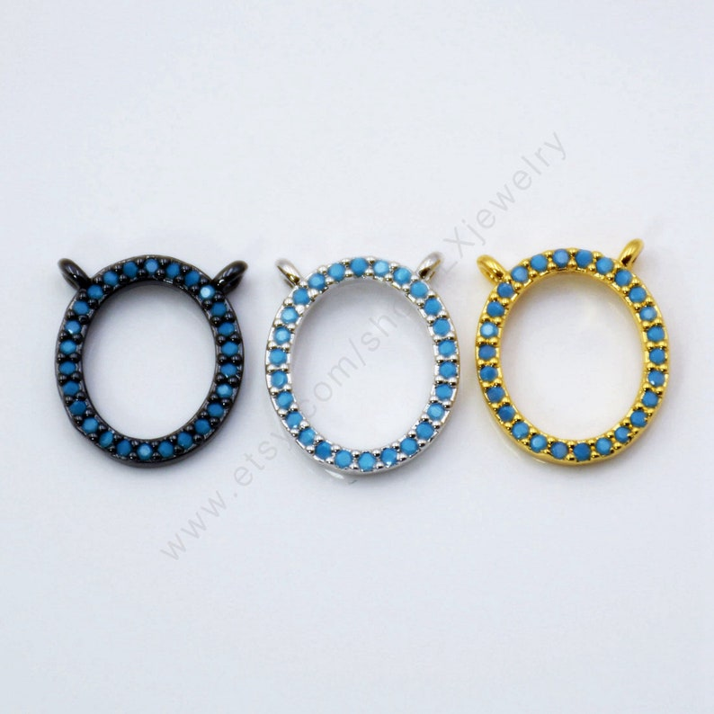 Micro Pave CZ 5-10 PCS oval Connector fit for Women Turquoise pendant Personality Jewelry Making L713