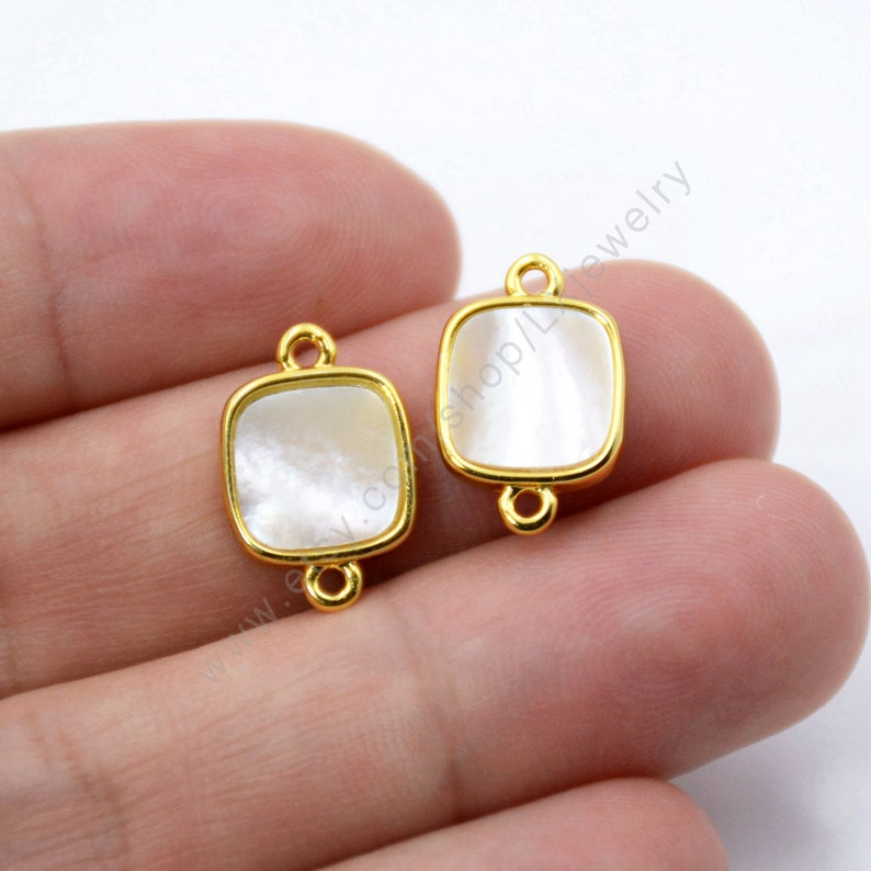 gold plated findings,mother of pearl pendant L904 square Gemstone charms 5-10 PCS natural white shell connector sea shell beads jewelry