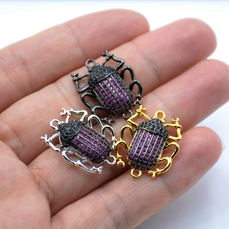 SilverBlackGold Insect pendant L779 pink cubic zircon 5-10 Pcs ACORN BEETLE Inspired charm Micro CZ Pave Fuchsia Beetle connector