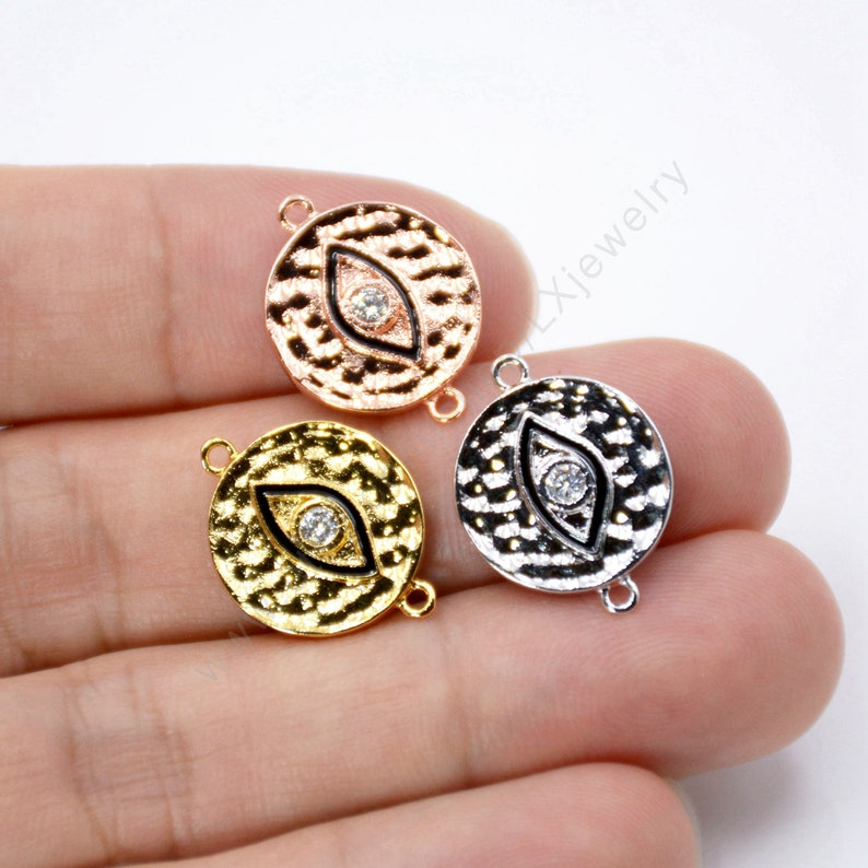 CZ Micro Pave round  Link for DIY Jewelry Making Findings L788 5-10 pcs Evil Eye Connector Charms