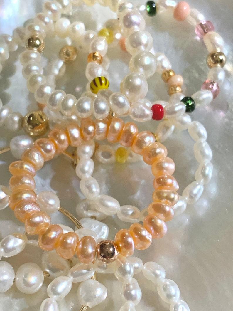 Beloved peach pearl ring Pearl Ring rosa
