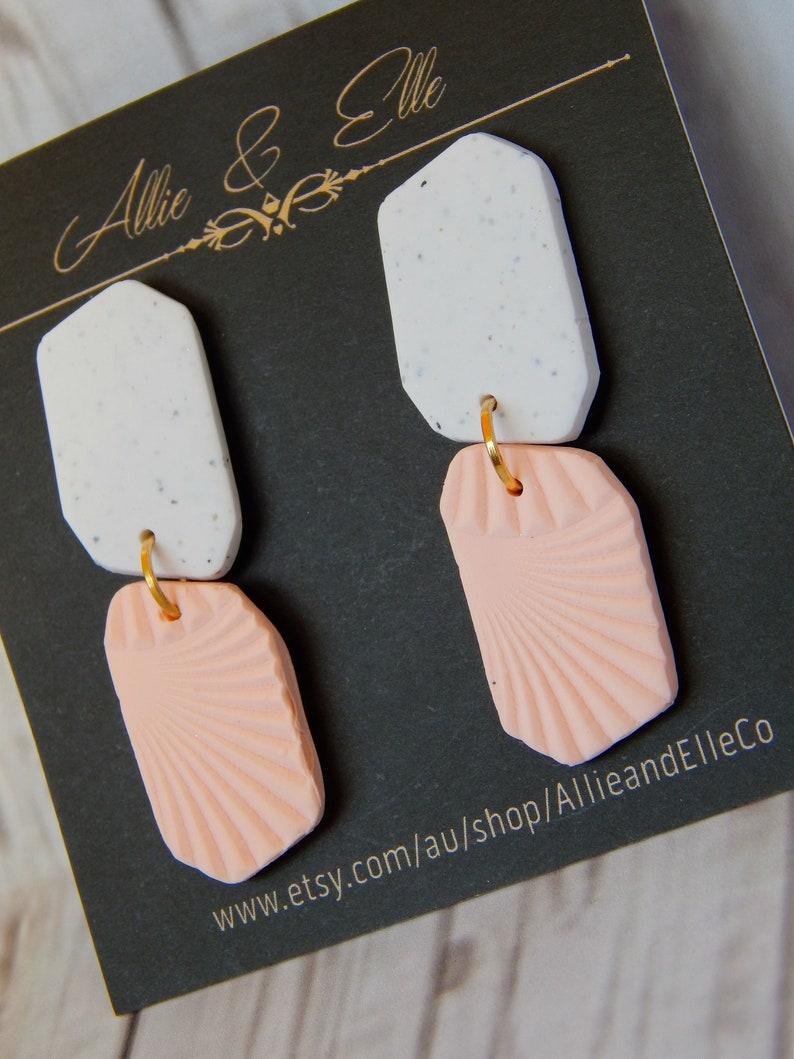 Soft peach cheeky small statement dangle earrings unique modern handmade lightweight polymer clay colourful fun bold modern funky