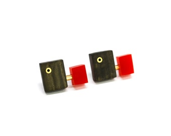 Wooden stud earrings with red acrylic and brass details