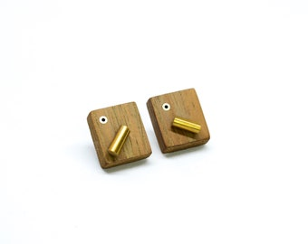 Wooden stud earrings with brass details