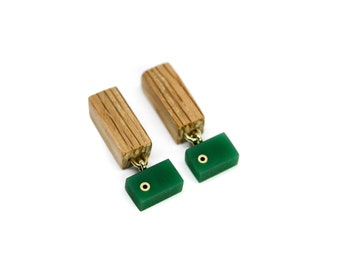 Wooden dangle & drop earrings with green acrylic and brass details