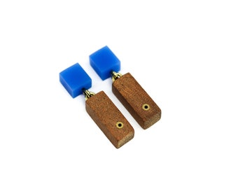 Wooden dangle & drop earrings with blue acrylic and brass details
