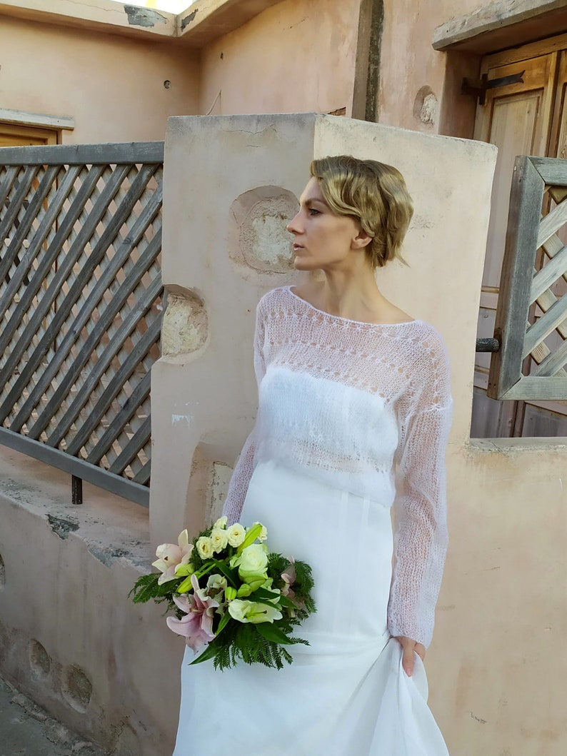 white sweater evening mohair bolero bolero for bridesmaid Cropped bridal lace sweater Ivory bridal shrug bolero