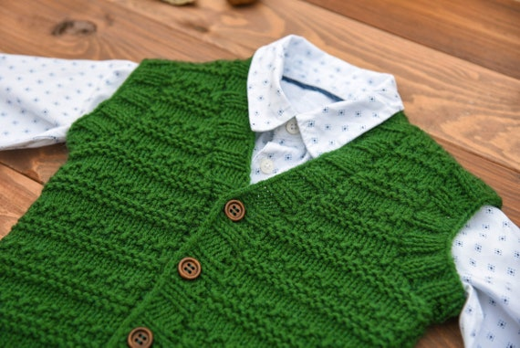 Boys green knit sweater vest, Kids toddler baby boy green sweater vest, Boys vest, Gift for toddler boy