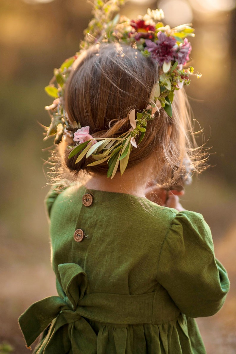 Girls green linen dress READY TO SHIP Long dresses for girls Toddler dresses Girls dress for special occasions