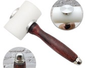 T Round Pro Hammer For Leather Artisans with Hard Wood handle Poly Head Pro Tooling Maul Thick Plastic Head 370 gr