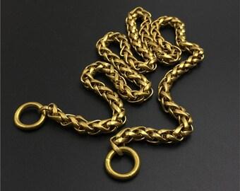 Handmade Bronze Wallet Chain With Skull Hook Chain Brass Byzantine Old School
