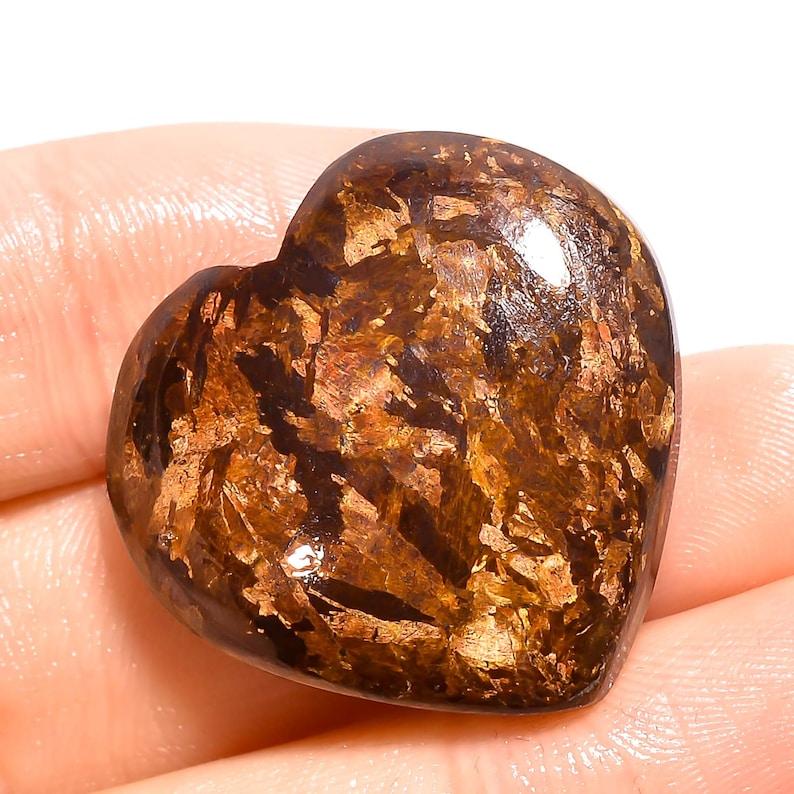 Dazzling AAA ZA 3027 Quality Bronzite Heart Cabochon Loose Gemstone Smooth Polished Bronzite Cabochon Gemstone Jewelry