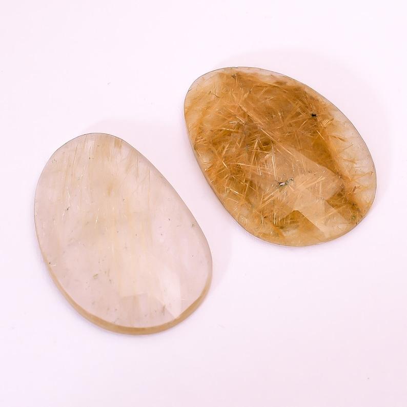 2 Pcs Golden Rutile Quartz Gemstone Jewelry Mesmerizing Golden Rutile Quartz Faceted Cabochon Loose Gemstone M 2337