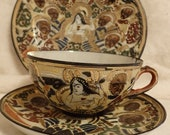 Antique Satsuma Moriage Japanese Tea Cup Saucer and Underplate Circa 1880-1920