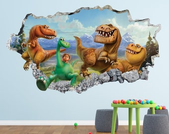 Good Dinosaur Wall Decal - Dinosaurs 3D Smashed Wall Decor Art Sticker Kids  Vinyl Poster Mural Custom Nursery Gift BL98 585dcacd81