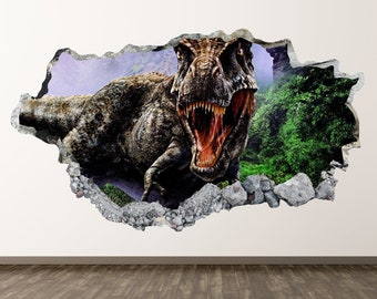 Dinosaur Wall Decal - T-Rex 3D Smashed Wall Decor Art Sticker Poster Kids  Vinyl Mural Custom Gift BL43 3d0fddc8c0
