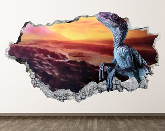 Baby Sunset Dinosaur Wall Decal - Wild Dinosaurs 3D Smashed Wall Decor Art  Sticker Kids Vinyl Mural Poster Custom Gift BL64 0c9ea054f0