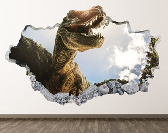Wild Dinosaur Wall Decal - Dinosaurs 3D Smashed Wall Decor Art Sticker Kids  Vinyl Mural Poster Custom Gift BL63 0a827c2c75