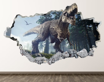 Dinosaur Wall Decal - T-Rex Animal 3D Smashed Wall Decor Art Sticker Poster  Kids Room Vinyl Mural Custom Gift BL176 91423e4dac