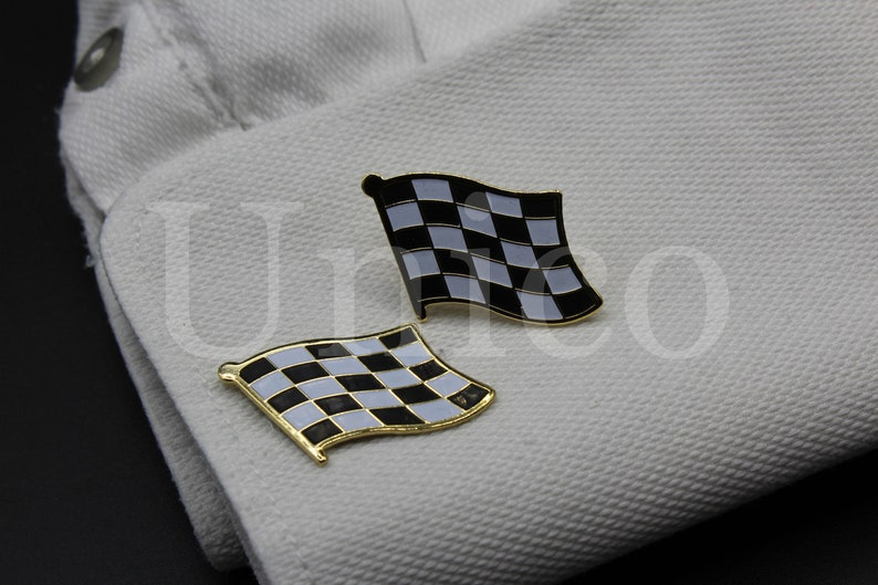 Custom Made New Cufflinks Handmade Vintage Checkered Flag Classic Modernist Gold