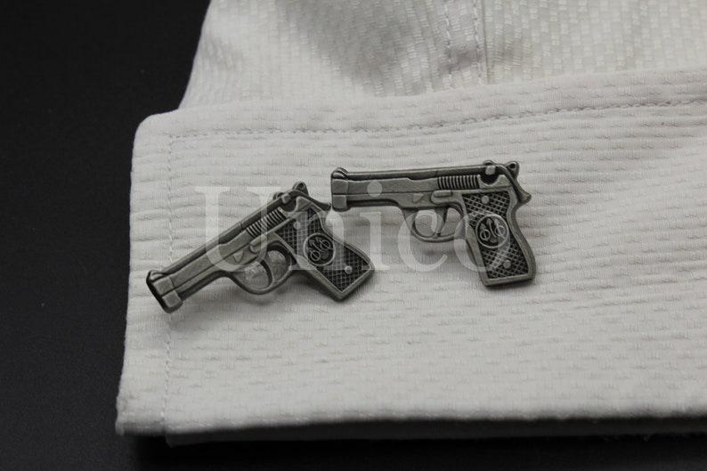 Custom Made Cufflinks Handmade .45 Cal Pistol Hand Gun Bullet Military Policeman