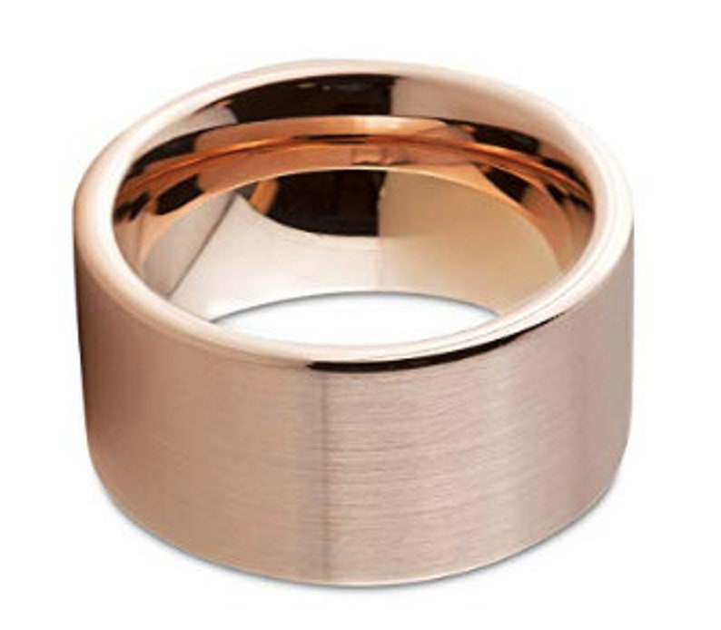 Anniversary His Wedding Band Mens Tungsten Ring Free Laser Engraving 12mm Mens Ring Tungsten Rose Gold Brushed Tungsten Wedding Band