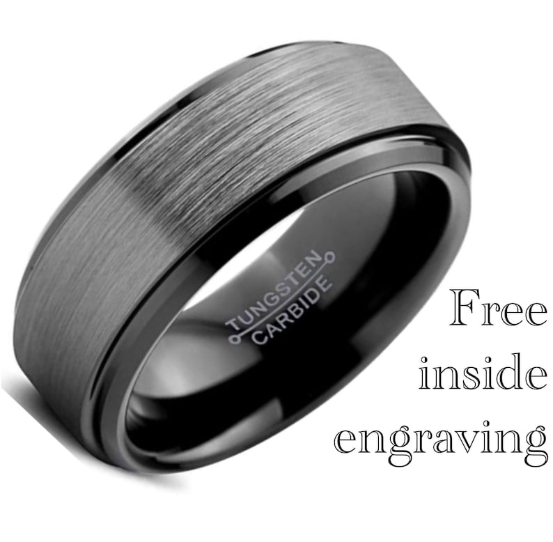 Black Tungsten Ring Mens Black Wedding Band Engagement Ring Men Brushed Silver Comfort Fit Gunmetal Mens Wedding Ring Engagement Ring 8mm
