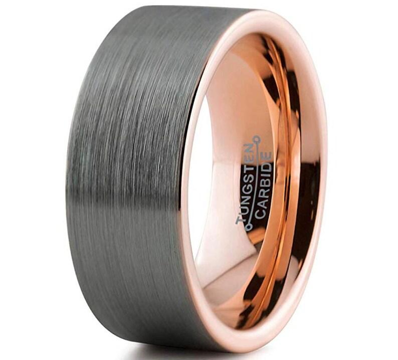 Black Brushed Silver Tungsten Ring 18k Rose Gold Inside Ring Wedding Band For Him Custom Text Wedding Ring Mans Ring Husband Gift 9mm