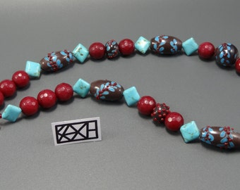 """Chain """"berry ranches""""-lampworkbeads-jade-turquoise-dark red-KaZe"""