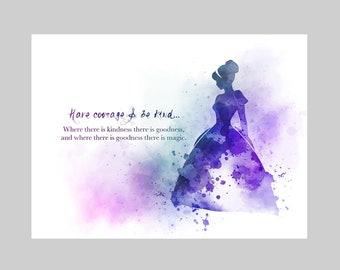 Cinderella quote art | Etsy