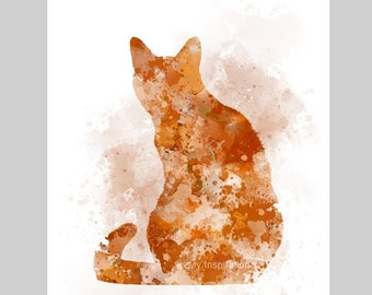 Ginger Cat ART PRINT Animal, Pet, Gift, Wall Art, Home Decor