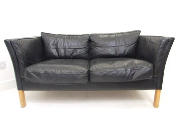 Mid Century Danish Design Sofa Two Seater Black Leather Vintage