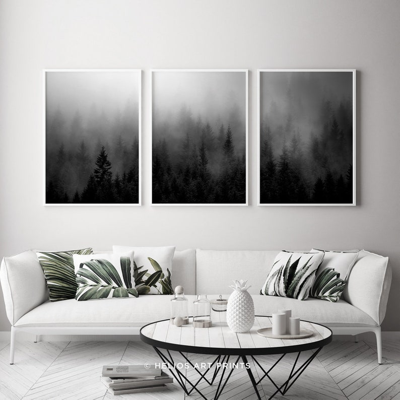 Set of three black and white misty forest wall art prints Set of 3 forest landscape wall art 3 piece forest art prints