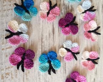 Handmade Crochet Butterflies x 5 in pink and yellow applique//embellishments