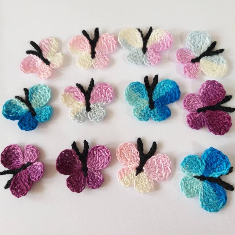 embellishments appliques handmade cardmaking Butterflies,Crochet applique sew on patches 12 crochet butterflies small multicolored