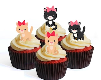 Cats /& Kitten 30 Edible Cupcake Toppers Wafer Paper Birthday Cake Decoration #1