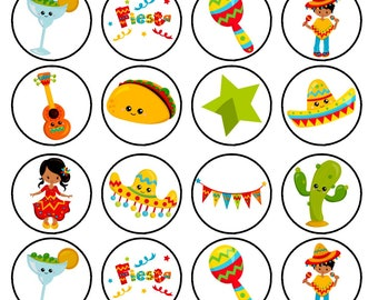 wafer card disc cake decorations Stand UpLie Flat 24 Mexico Mexican Theme #1 PRECUT option Edible Cupcake Toppers