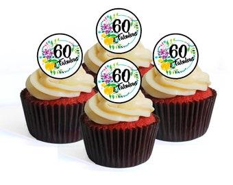 60th Birthday 60 Fabulous Edible Cupcake Toppers