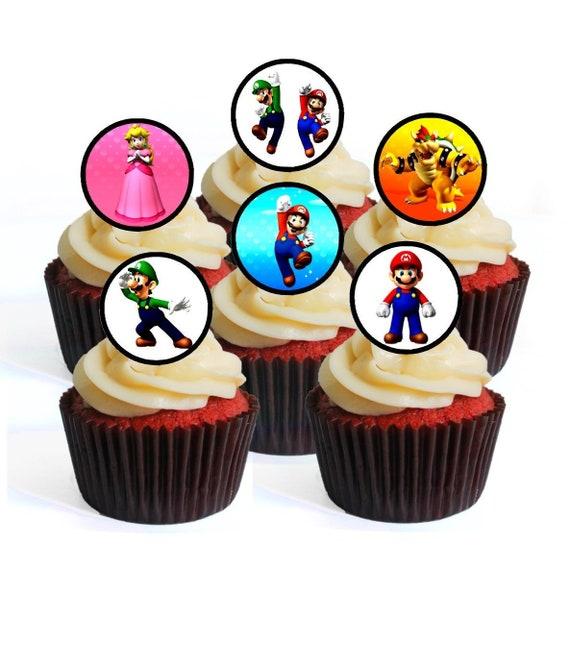 48 Super Mario Bros Wafer Rice Paper Mini Cupcake Topper Edible Fairy Cake