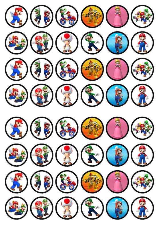 48 Super Mario Bros Edible Mini Cupcake Toppers Wafer Card Etsy